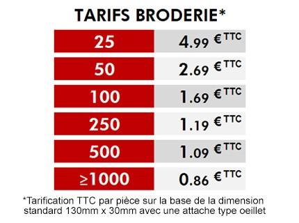 Tarif Flamme Brodée